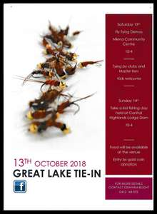 The Great Lake Tie-In 2018 advertising flyer, Miena Community Center, Fri 12 to Sun 14 October 2018