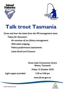 The flyer for Talk Trout Tasmania 2018, the IFS forum