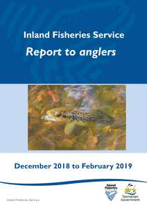 The cover page of the IFS Quarterly report to anglers for December 2018 to February 2019 showing a brown trout