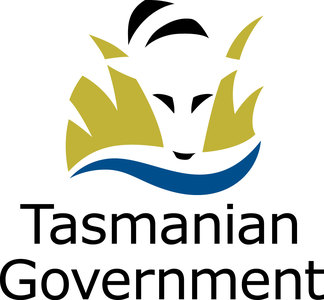 The Tasmanian Government logo featuring a graphic representation of a Thylacine