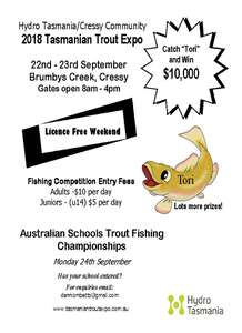 The flyer for the Hydro Tasmania/Cressy Community 2018 Trout Expo flyer for Saturday 22 and Sunday 23 September at Brumbys Creek, Cressy from 8am to 4pm daily
