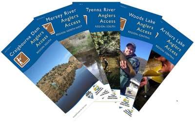 A selection of Anglers Access Program brochure cover pages from the new editions