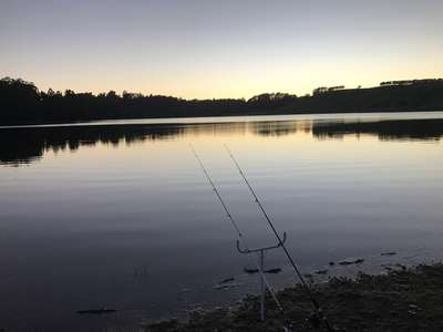 Two set fishing rods on the shore of South Riana Dam as day breaks on the opening of the 2018-19 trout season.