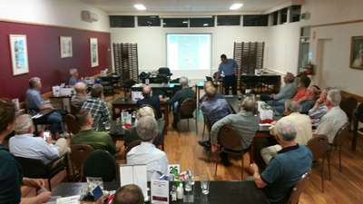 Carp Management Program Leader Jonah Yick presenting work on the management of carp in Lake Sorell at the Tasmanian Fly Tyers Club meeting.