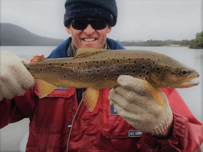 IFS Staff member Christopher Bassano with a Bradys Chain brown trout