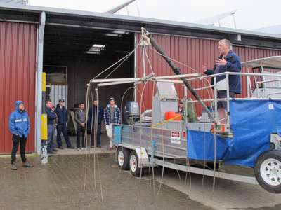 Carp Management staff and AMC students undertake electrofishing training